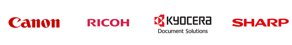 printer logos Ricoh, Sharp, Canon, Kyocera